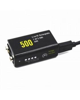 Μπαταρία 9v USB 500mAh Protected Επαναφορτ. Λιθίου