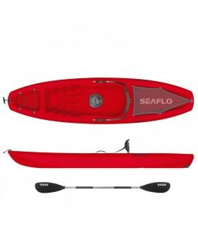 Puny μονοθέσιο καγιάκ SeaFlo με ενσωματωμένη ρόδα στην πρύμνη και κουπί RED