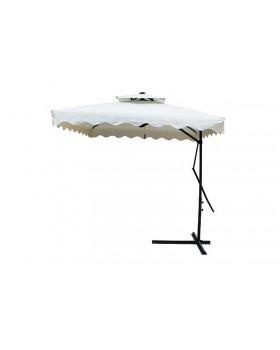 Ομπρέλα τετράγωνη με ανεξάρτητο αεραγωγό κρεμαστή με βολάν και βάση