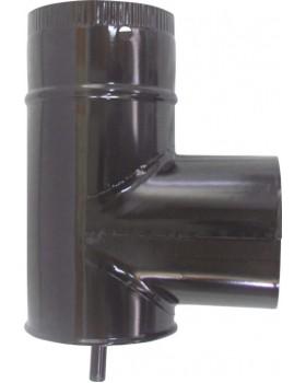Ταφ για μπουρί σωλήνα σόμπας εμαγιέ μαύρο Ø130