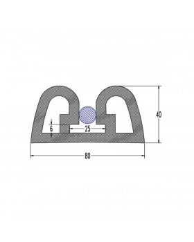 ΠΡΟΦΙΛ PVC ΓΙΑ ΠΟΛΥΕΣΤΕΡΙΚΑ ΣΚΑΦΗ Β.Τ. W80 x H40
