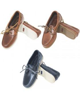 Deck shoes ``Skipper`` καφέ δέρμα/καφέ σόλα No.44