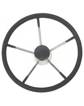 Τιμόνι, ανοξείδωτο με μαύρη επένδυση, Διαμ.390mm