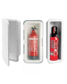 Θήκη για Πυροσβεστήρα 1Kg με Διαφανές Πορτάκι, Λευκή