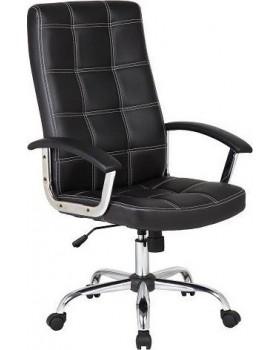 Καρέκλα Γραφείου Μαύρη με Επένδυση Δερματίνης Velco 66-20057