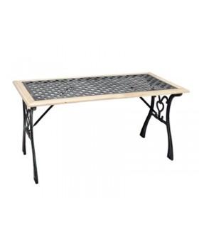 Τραπέζι Μεταλλικό με Ξύλινη Επένδυση 115x55x58cm