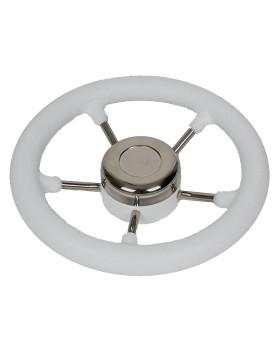 Τιμόνι Ακτινωτό Inox Με Μαλακή Επένδυση Πολυπροπυλενίου Λευκό Φ280mm