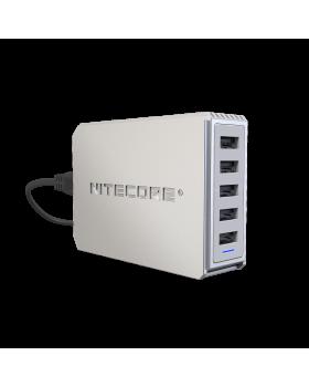 ΤΡΟΦΟΔΟΤΙΚΟ USB, NITECORE UA55 desktop adaptor, 10A/50w High speed charging